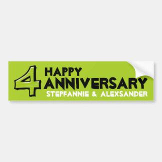 Silly Number 4 green Anniversary Sticker Bumper Sticker