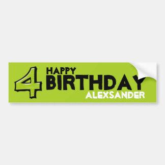 Silly Number 4 green Birthday Bumper Sticker