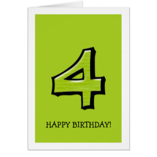 Silly Number 4 green Birthday Card