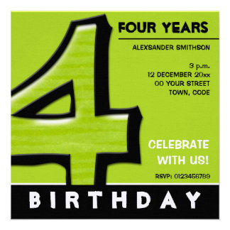 Silly Number 4 green Birthday Party Invitation