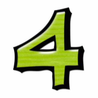 Silly Number 4 green Cake Topper Standing Photo Sculpture