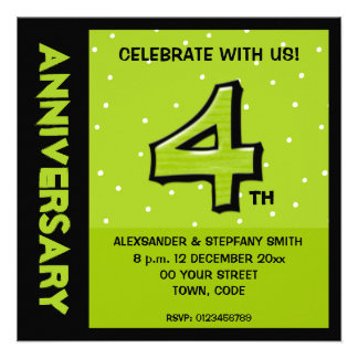 Silly Number 4 green dots Anniversary Invite
