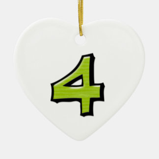 Silly Number 4 green Heart Ornament