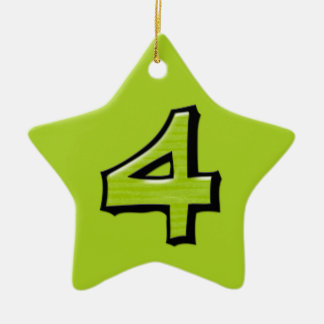 Silly Number 4 green Star Ornament