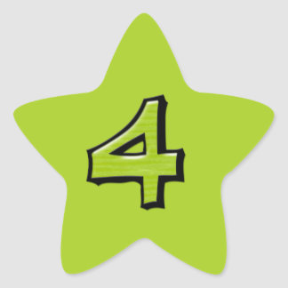 Silly Number 4 green Star Sticker