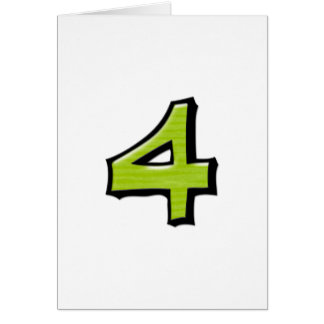 Silly Number 4 green white Card