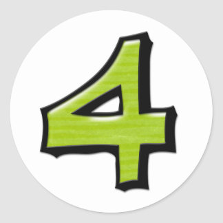 Silly Number 4 green white Round Sticker