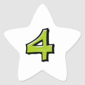 Silly Number 4 green white Star Sticker