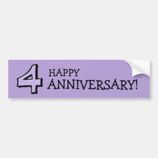 Silly Number 4 lavender Anniversary Bumper Sticker