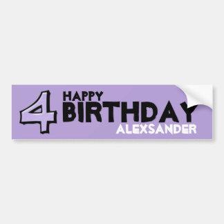 Silly Number 4 lavender Birthday Bumper Sticker