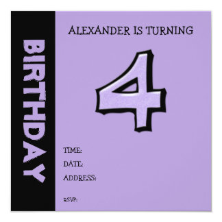 Silly Number 4 lavender Birthday Invitation
