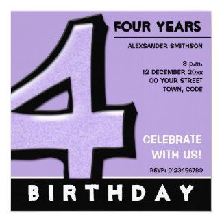 Silly Number 4 lavender Birthday Party Invitation
