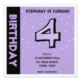 Silly Number 4 lavender dots Birthday Invitation