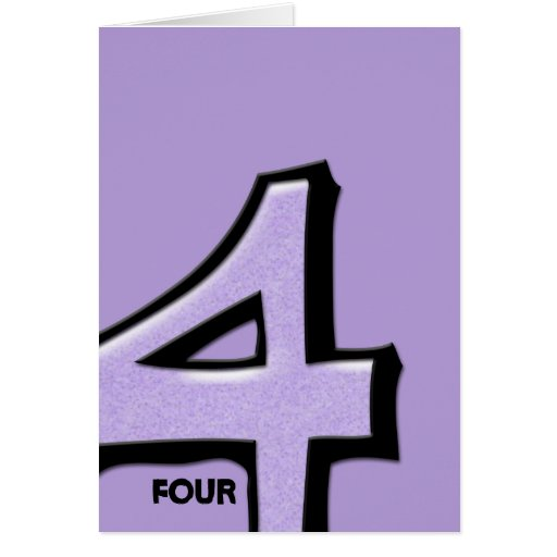 Silly Number 4 lavender Note Card