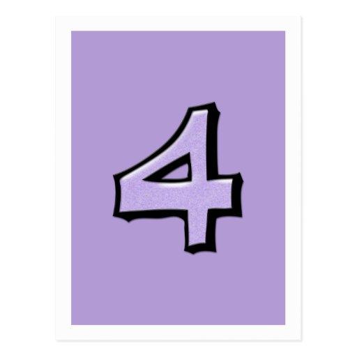 Silly Number 4 lavender Postcard