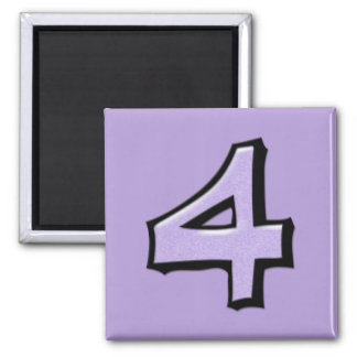 Silly Number 4 lavender Square Magnet