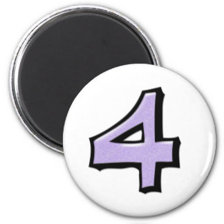 Silly Number 4 lavender white Round Magnet