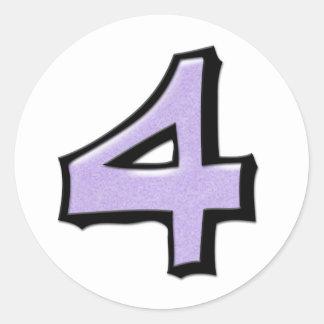 Silly Number 4 lavender white Round Sticker