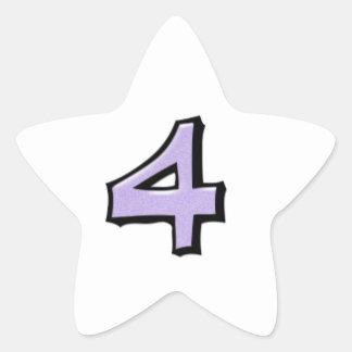 Silly Number 4 lavender white Star Sticker