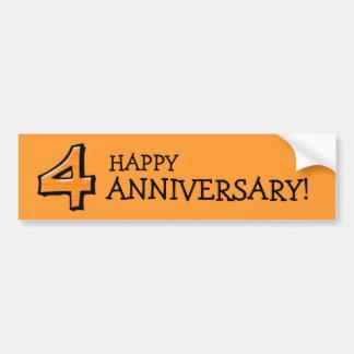Silly Number 4 orange Anniversary Bumper Sticker
