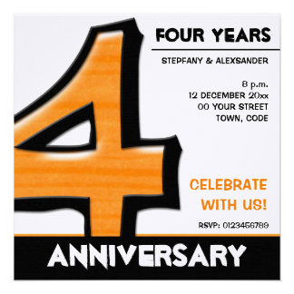 Silly Number 4 orange Anniversary Invitation