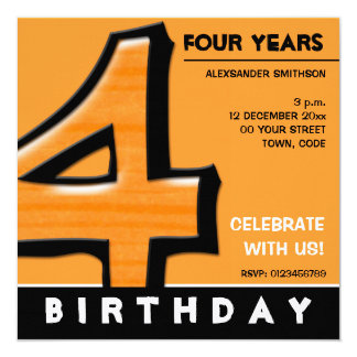 Silly Number 4 orange Birthday Party Invitation