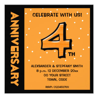 Silly Number 4 orange dots Anniversary Invite