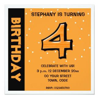 Silly Number 4 orange dots Birthday Invitation