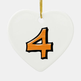 Silly Number 4 orange Heart Ornament