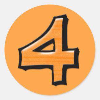 Silly Number 4 orange Round Sticker