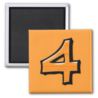 Silly Number 4 orange Square Magnet