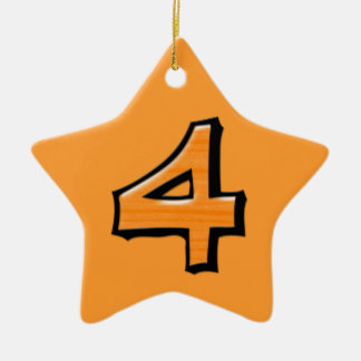 Silly Number 4 orange Star Ornament
