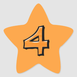 Silly Number 4 orange Star Sticker