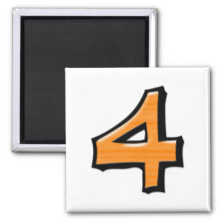 Silly Number 4 orange white Square Magnet