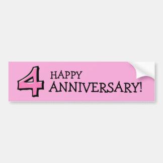 Silly Number 4 pink Anniversary Bumper Sticker