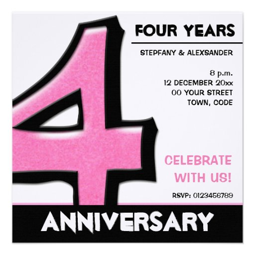 Silly Number 4 pink Anniversary Invitation