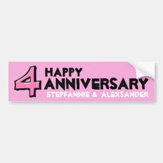 Silly Number 4 pink Anniversary Sticker Bumper Sticker