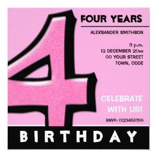 Silly Number 4 pink Birthday Party Invitation