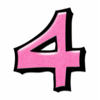 Silly Number 4 pink Cake Topper Standing Photo Sculpture