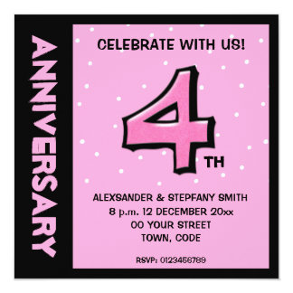 Silly Number 4 pink dots Anniversary Invite