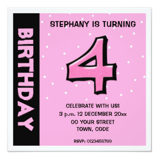 Silly Number 4 pink dots Birthday Invitation
