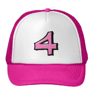Silly Number 4 pink Hat