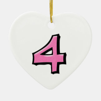Silly Number 4 pink Heart Ornament