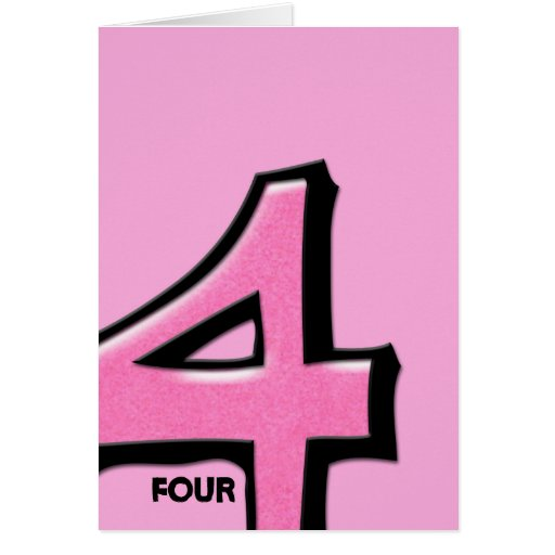 Silly Number 4 pink Note Card