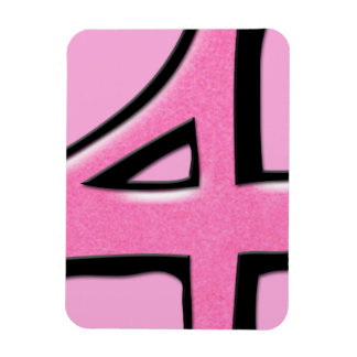 Silly Number 4 pink Premium Magnet