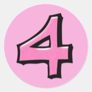 Silly Number 4 pink Round Sticker