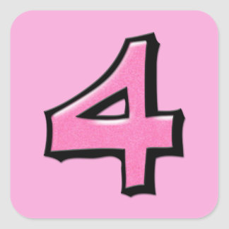 Silly Number 4 pink Square Sticker