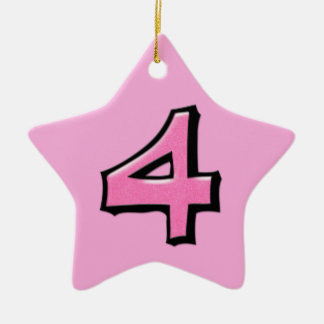 Silly Number 4 pink Star Ornament