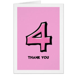 Silly Number 4 pink Thank You Note Card