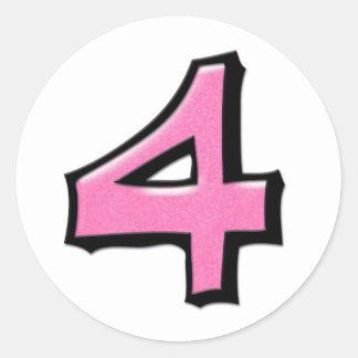 Silly Number 4 pink white Round Sticker